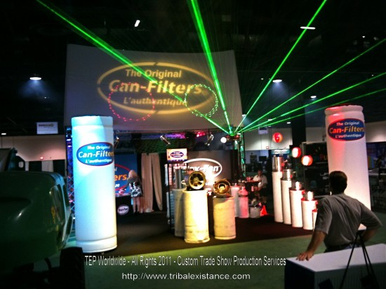 Amazing Trade Show Services with high power laser displays and booth trussing and lighting presentation by TEP Worldwide