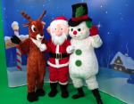 Santa, Frosty, and Rudolph