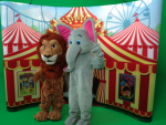 circus theme-Backdrops and costumed characters