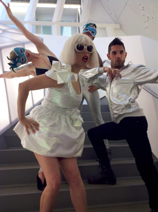 Athena as Gaga and her dancers during film shoot