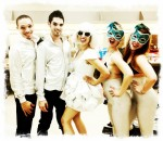 Athena with her back-up dancers backstage before going onstage at Rider University