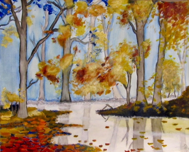 "Priya's ""Autumn Serenity"" currently hangs Jean's nursing home room. It reminds her of Priya."