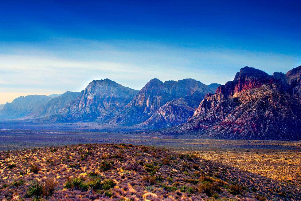 Red rock canyon mountain range sunset