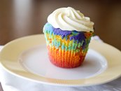 Jumbo Rainbow Cupcakes