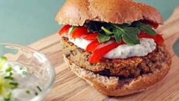 Quinoa Burgers with Easy Tzatziki