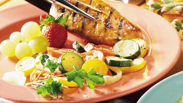 Grilled Chicken Breasts with Market Veggies