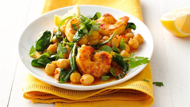 Gluten-Free Harissa Skillet Shrimp with Spinach and Chickpeas recipe ...