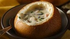 Chicken-Ham Wild Rice Soup in Bread Bowls Recipe
