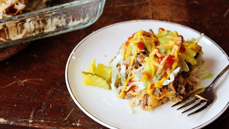 Bacon Cheeseburger Nacho Bake
