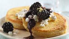 Biscuit Corn Cakes with Goat Cheese and Blackberry-Thyme Sauce Recipe
