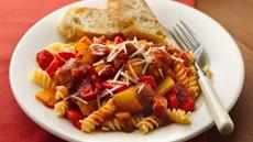 Slow Cooker Italian Sausages and Peppers with Rotini Recipe
