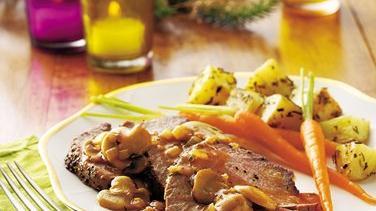 Peppered Beef Tenderloin with Mushroom Sauce