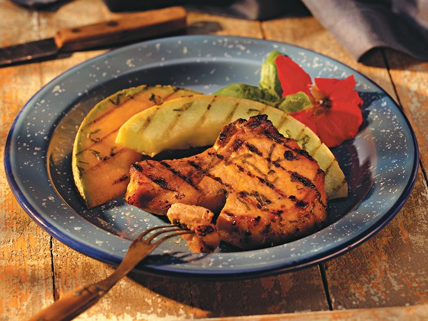 Basil-Lemon Pork Chops with Melon