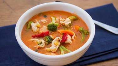 Red Curry Chicken and Vegetable Soup