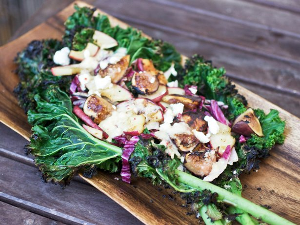 Grilled Kale, Fig and Apple Salad