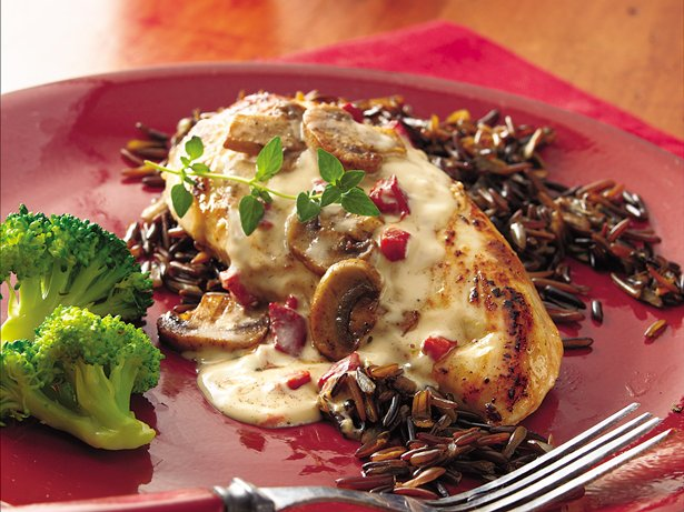 Chicken Breasts with Wild Rice Alfredo