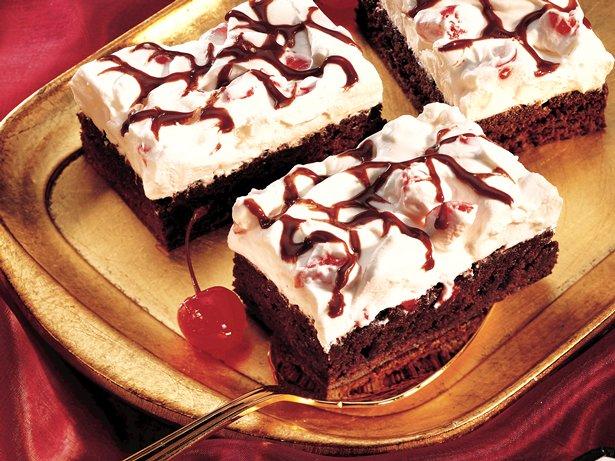 Chocolate Cherry Brownie Dessert recipe from Betty Crocker