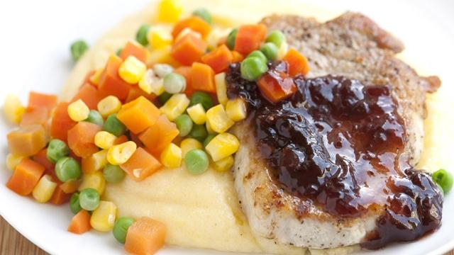 Pork and Polenta with Cherry Sauce