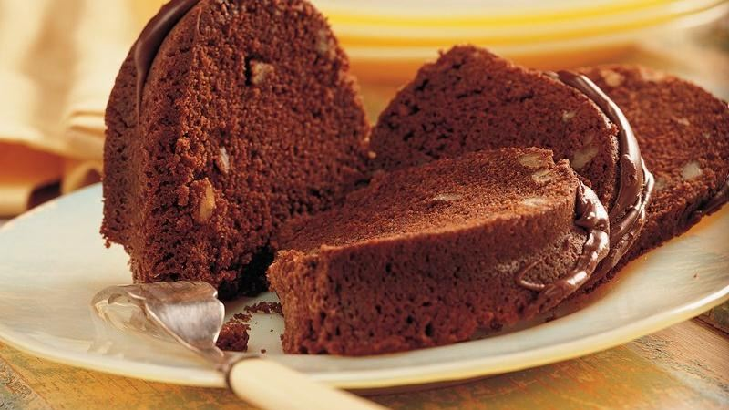 Chocolate Pecan Bourbon Cake recipe from Betty Crocker