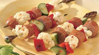 Smoked Sausage and Vegetable Kabobs