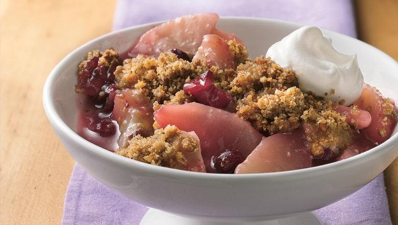 Healthified Almond-Cranberry-Pear Crisp