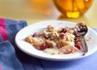 Pear and Cherry Crisp with Almond Custard Sauce