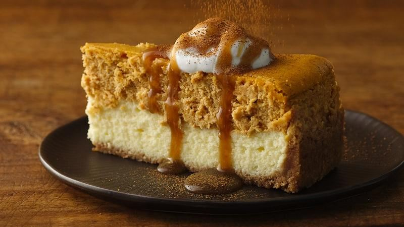Pumpkin Cheesecake with Caramel Sauce recipe from Betty Crocker