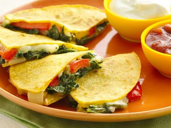 Kale and Bell Pepper Quesadillas (Gluten Free) - Life Made Delicious