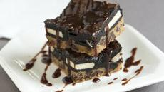 Triple Decker Brownies with Bourbon Chocolate Sauce Recipe