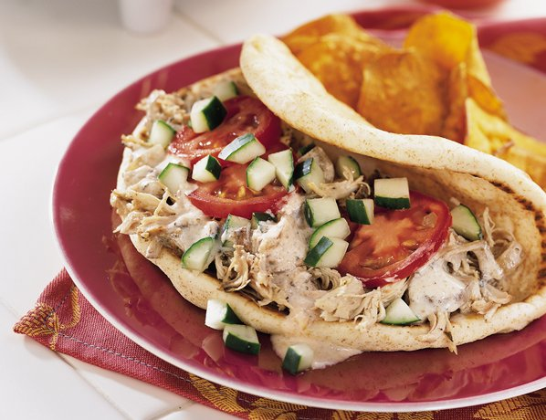 Slow Cooker Greek Chicken Pita Folds