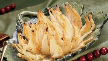 Baked Onion Blossom with Dill Sauce