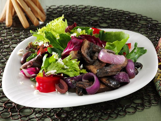 Roasted Portabellas with Mediterranean Salad