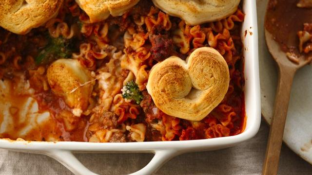 Crescent Heart-Topped Lasagna Casserole