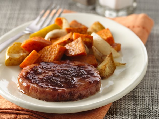 Smoked Pork Chops with Apple and Sweet Potato