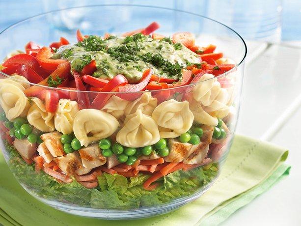 Layered Tortellini Pesto Chicken Salad