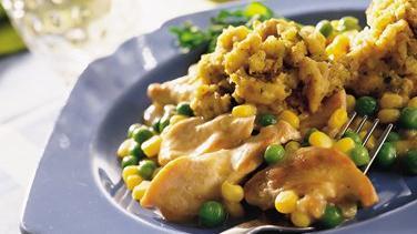 Skillet Turkey, Vegetables and Stuffing