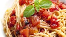 Spaghetti with Tomatoes and Garlic-Basil Oil Recipe