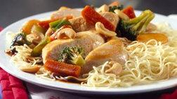 Sichuan Cashew Chicken with Angel Hair Pasta