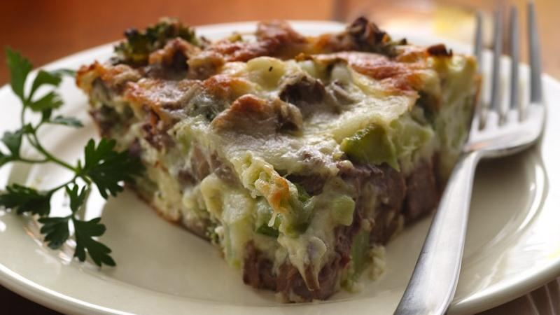 Impossibly Easy Beef, Broccoli and Mushroom Pie