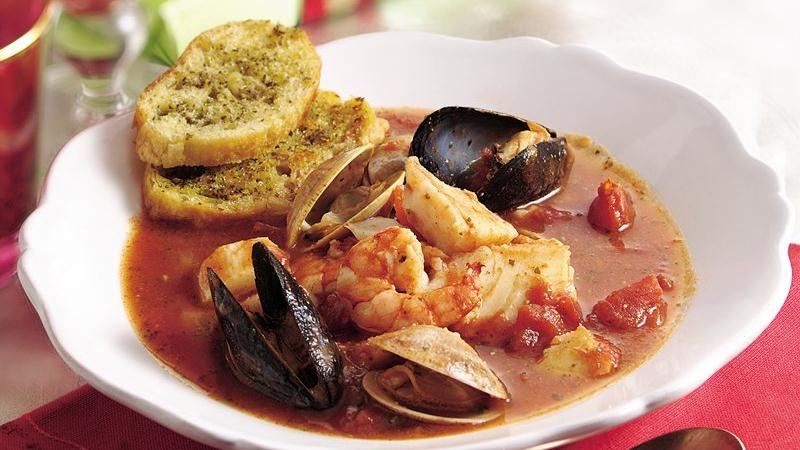 Italian Seafood Stew with Garlic-Herb Croutons recipe from Betty ...
