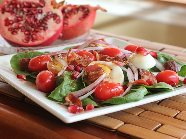 Spinach Salad with Warm Pomegranate Salad Dressing