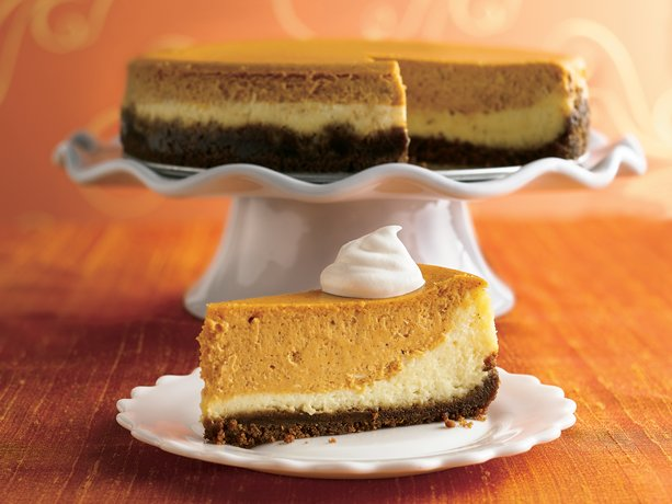... cheesecake with a classic vanilla layer and a spiced up pumpkin layer