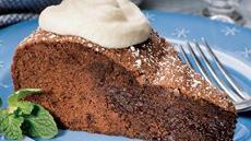 Brownie Soufflé Cake with Mint Cream Recipe
