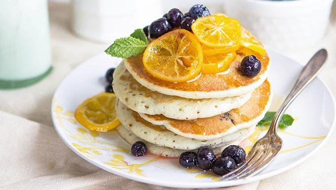 Blueberry Greek Yogurt Pancakes with Meyer Lemon Syrup recipe - from ...