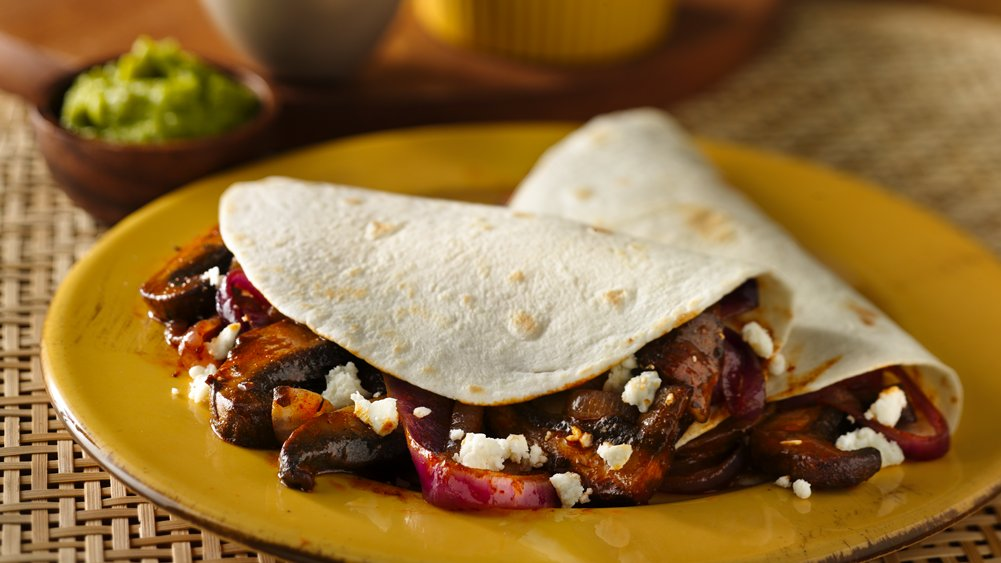 Mushroom and Onion Vegetarian Tacos