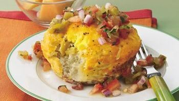 Breakfast Biscuit Cups with Green Chile Salsa