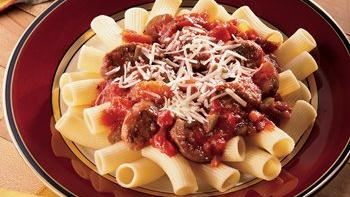 Spicy Sausage and Peppers Rigatoni