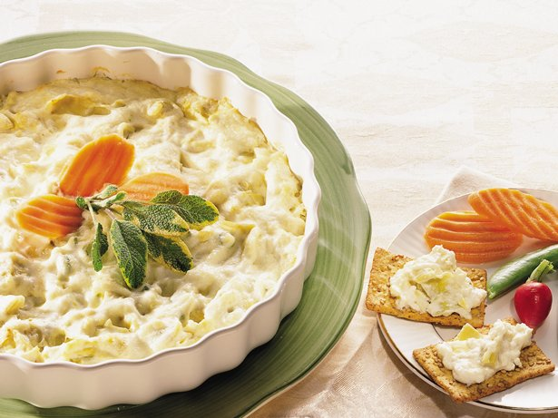 Lite Cheesy Artichoke Dip