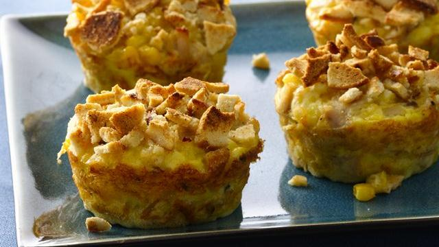 Impossibly Easy Mini Turkey and Corn Pies with Baguette Chips
