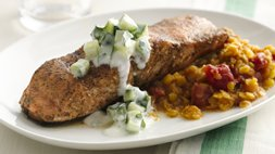 Gluten Free Indian Spiced Salmon with Dal and Raita